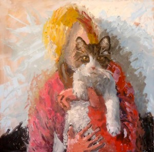 cat, feline, snuggle, woman, girl, lady, painting, art, portrait painting,